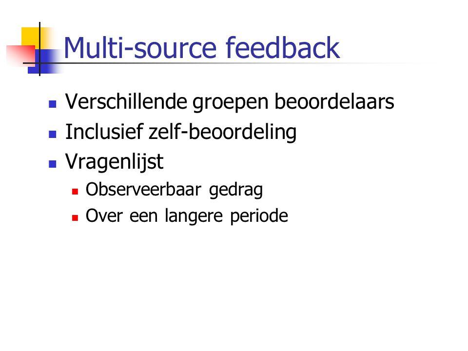 Multi-source feedback  Verschillende groepen beoordelaars  Inclusief zelf-beoordeling  Vragenlijst  Observeerbaar gedrag  Over een langere period