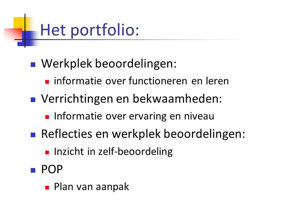 Het portfolio:  Werkplek beoordelingen:  informatie over functioneren en leren  Verrichtingen en bekwaamheden:  Informatie over ervaring en niveau