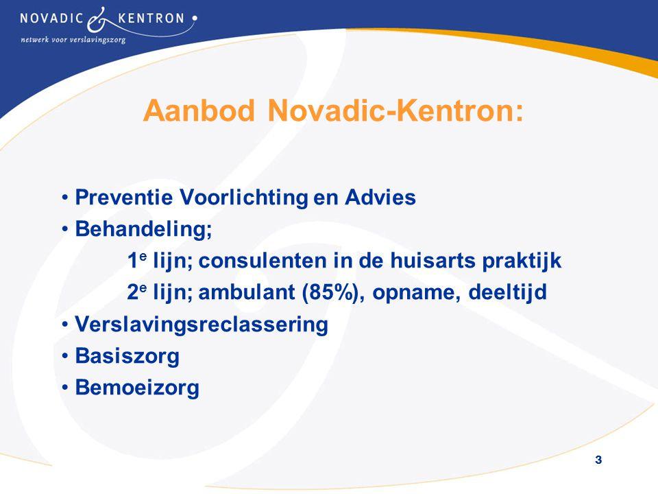 3 Aanbod Novadic-Kentron: • Preventie Voorlichting en Advies • Behandeling; 1 e lijn; consulenten in de huisarts praktijk 2 e lijn; ambulant (85%), opname, deeltijd • Verslavingsreclassering • Basiszorg • Bemoeizorg