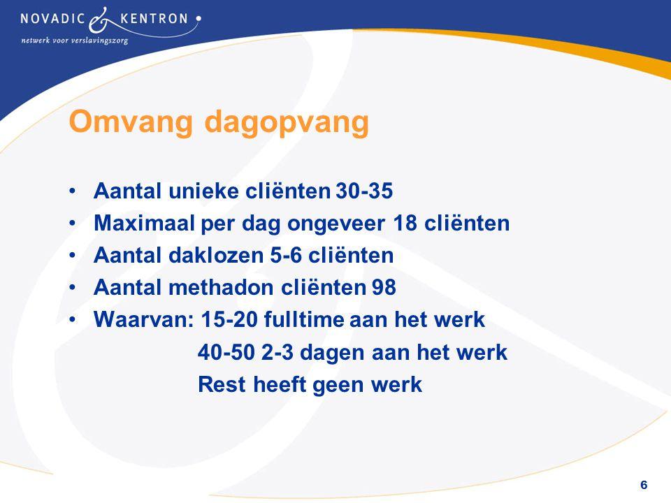 6 Omvang dagopvang •Aantal unieke cliënten 30-35 •Maximaal per dag ongeveer 18 cliënten •Aantal daklozen 5-6 cliënten •Aantal methadon cliënten 98 •Wa