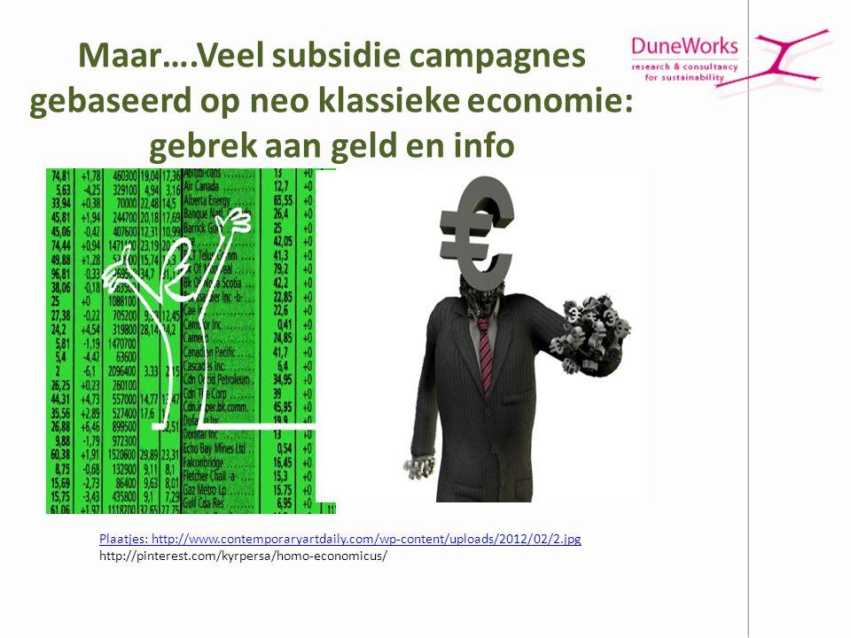 Maar….Veel subsidie campagnes gebaseerd op neo klassieke economie: gebrek aan geld en info Plaatjes: http://www.contemporaryartdaily.com/wp-content/up