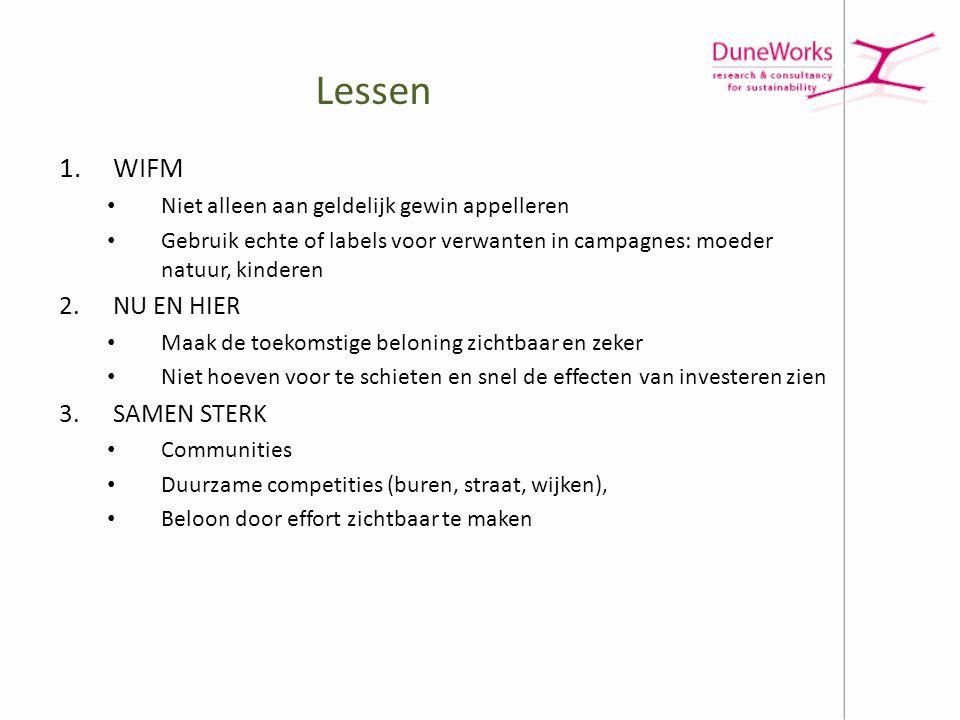 Lessen 1.WIFM • Niet alleen aan geldelijk gewin appelleren • Gebruik echte of labels voor verwanten in campagnes: moeder natuur, kinderen 2.NU EN HIER