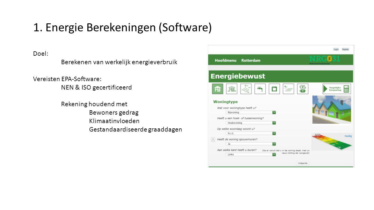 1. Energie Berekeningen (Software) Doel: Berekenen van werkelijk energieverbruik Vereisten EPA-Software: NEN & ISO gecertificeerd Rekening houdend met