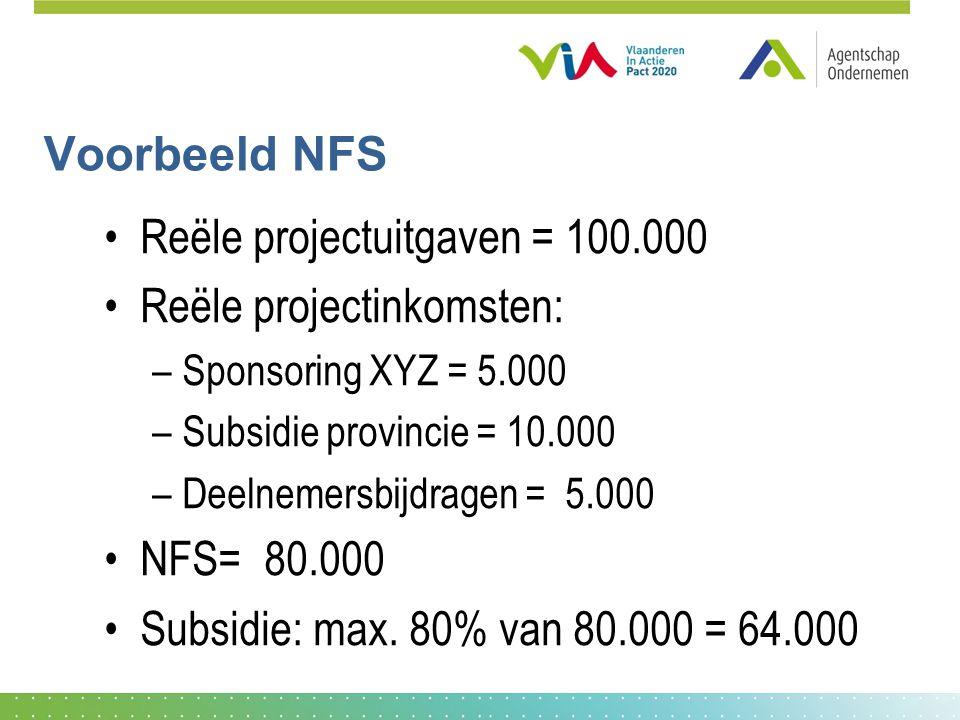 Voorbeeld NFS •Reële projectuitgaven = 100.000 •Reële projectinkomsten: –Sponsoring XYZ = 5.000 –Subsidie provincie = 10.000 –Deelnemersbijdragen = 5.000 •NFS= 80.000 •Subsidie: max.
