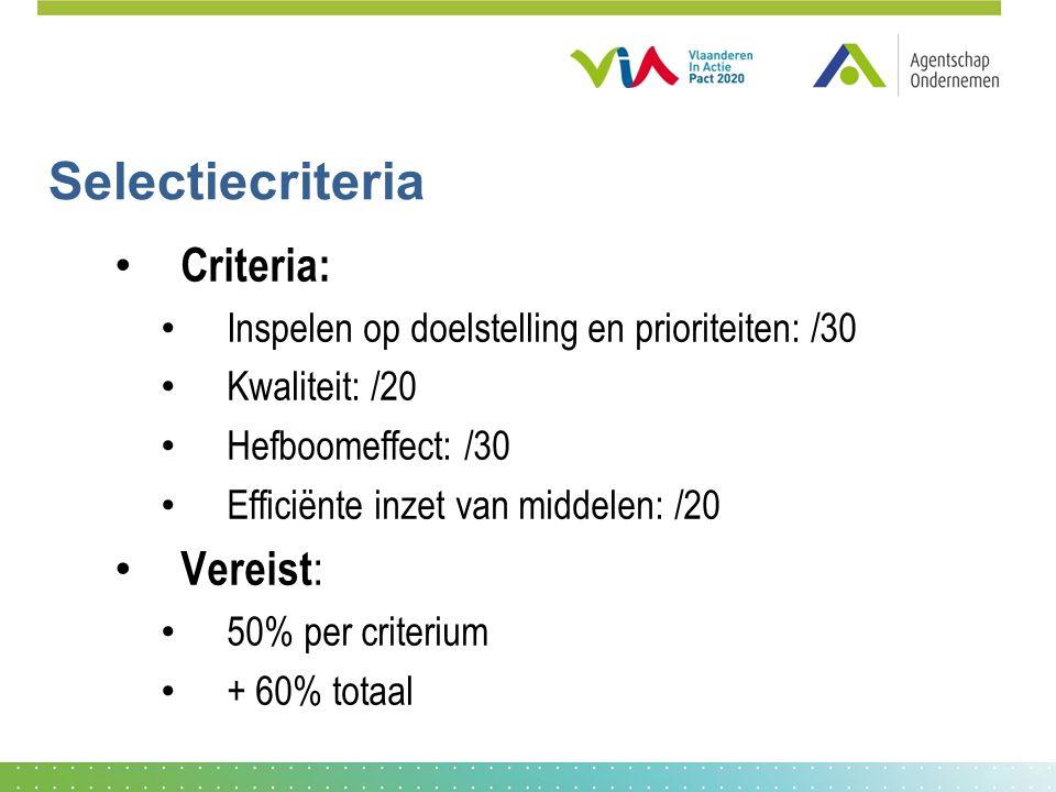Selectiecriteria • Criteria: • Inspelen op doelstelling en prioriteiten: /30 • Kwaliteit: /20 • Hefboomeffect: /30 • Efficiënte inzet van middelen: /20 • Vereist : • 50% per criterium • + 60% totaal