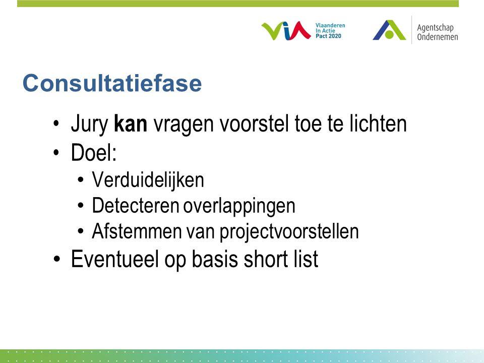 Consultatiefase •Jury kan vragen voorstel toe te lichten •Doel: • Verduidelijken • Detecteren overlappingen • Afstemmen van projectvoorstellen • Eventueel op basis short list