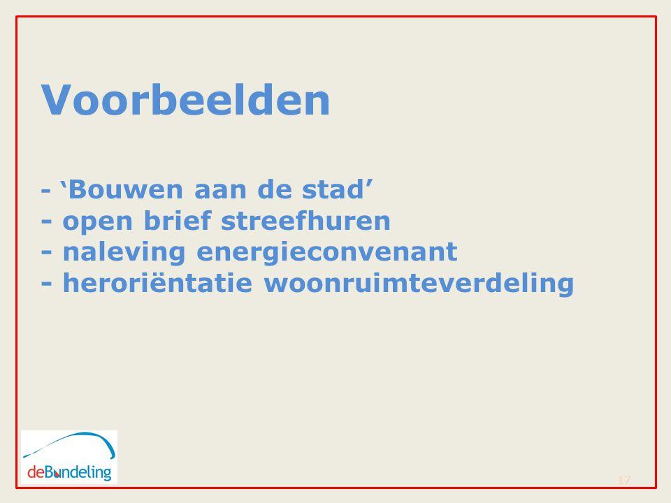 Voorbeelden - ' Bouwen aan de stad' - open brief streefhuren - naleving energieconvenant - heroriëntatie woonruimteverdeling 17