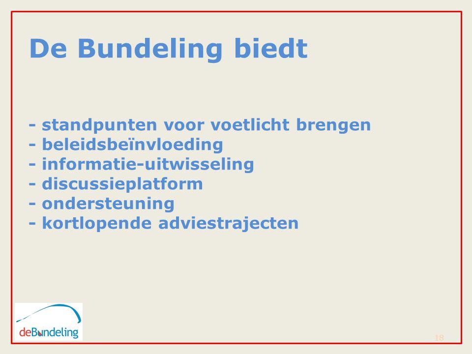 De Bundeling biedt - standpunten voor voetlicht brengen - beleidsbeïnvloeding - informatie-uitwisseling - discussieplatform - ondersteuning - kortlopende adviestrajecten 18