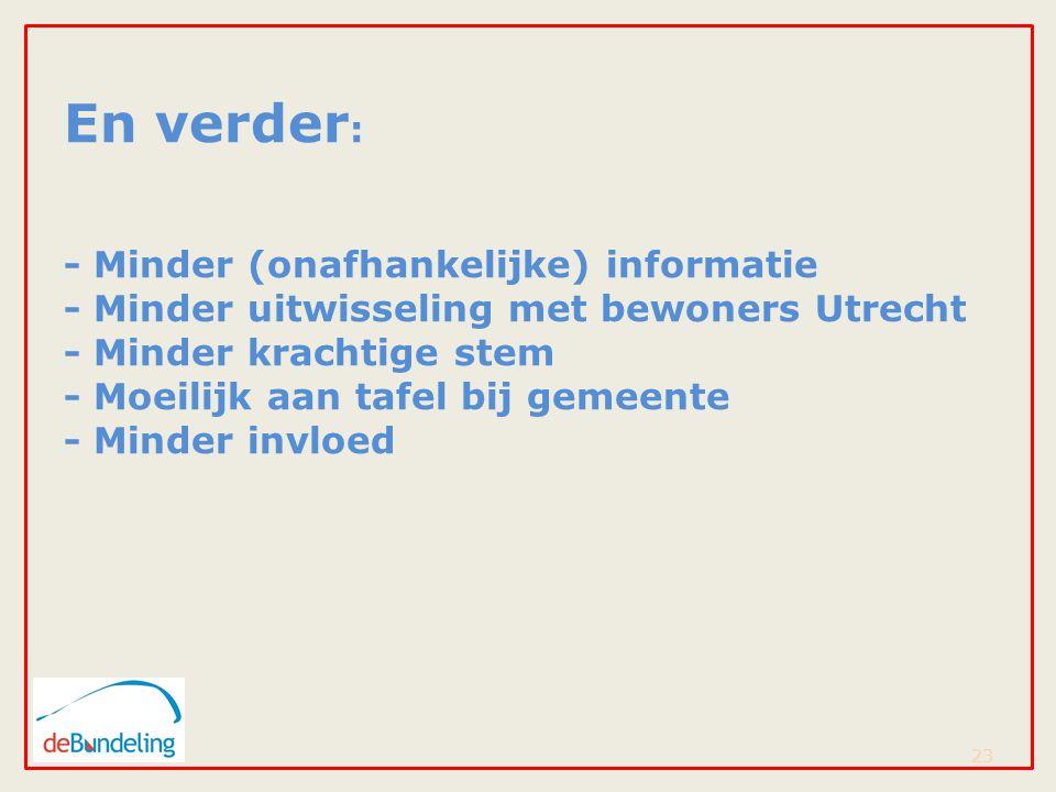 En verder : - Minder (onafhankelijke) informatie - Minder uitwisseling met bewoners Utrecht - Minder krachtige stem - Moeilijk aan tafel bij gemeente - Minder invloed 23