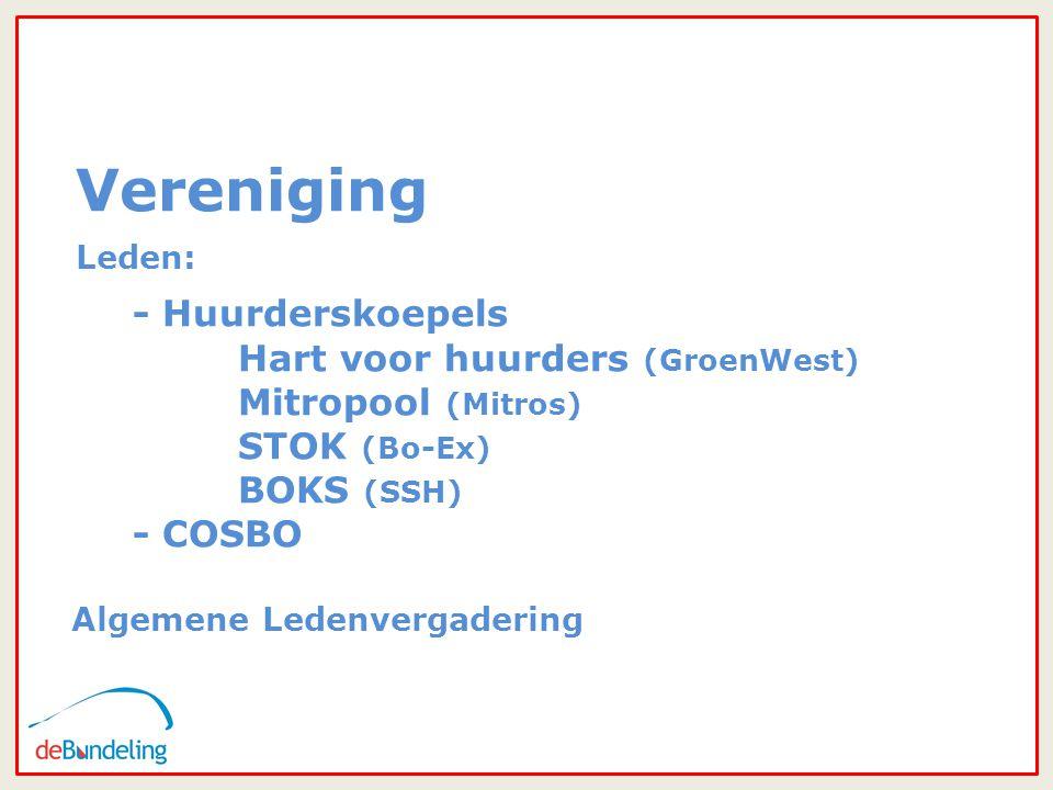 33 Vereniging Leden: - Huurderskoepels Hart voor huurders (GroenWest) Mitropool (Mitros) STOK (Bo-Ex) BOKS (SSH) - COSBO Algemene Ledenvergadering