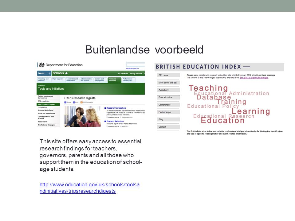 Buitenlandse voorbeeld This site offers easy access to essential research findings for teachers, governors, parents and all those who support them in the education of school- age students.