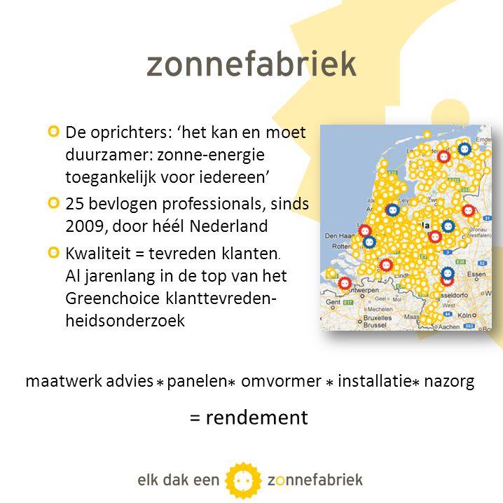 zonnefabriek De oprichters: 'het kan en moet duurzamer: zonne-energie toegankelijk voor iedereen' 25 bevlogen professionals, sinds 2009, door héél Ned