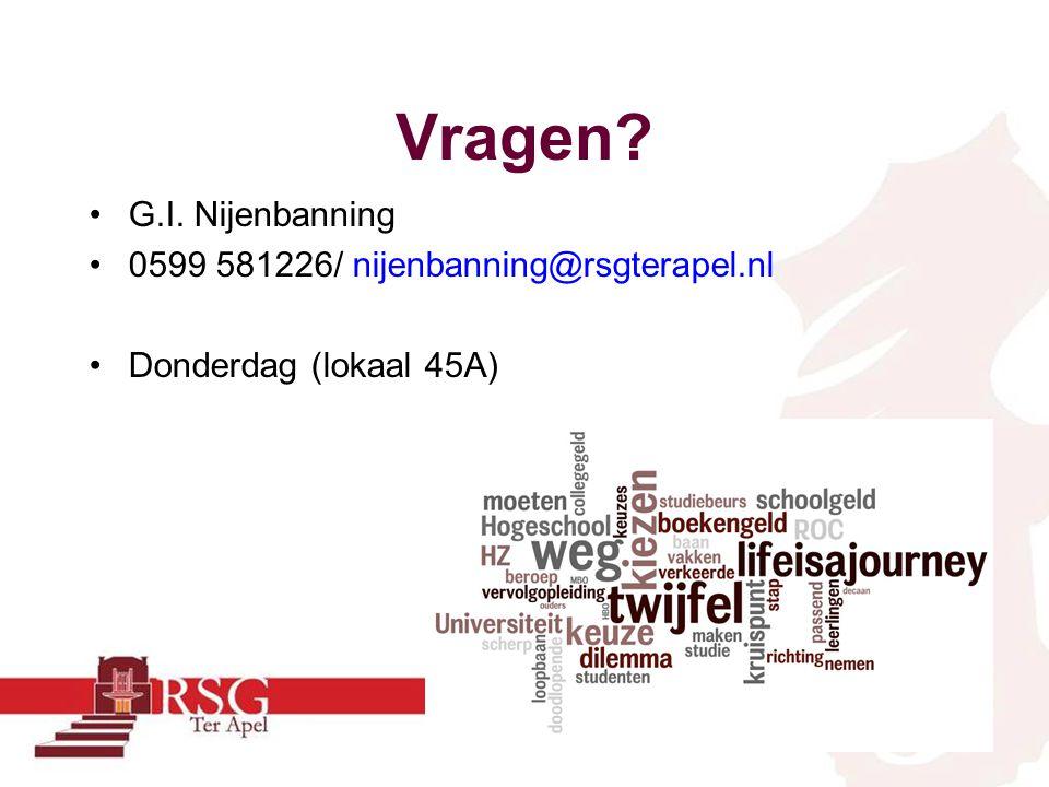 Vragen? •G.I. Nijenbanning •0599 581226/ nijenbanning@rsgterapel.nl •Donderdag (lokaal 45A)
