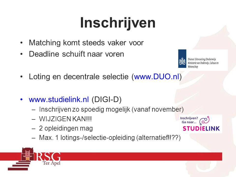 •Matching komt steeds vaker voor •Deadline schuift naar voren •Loting en decentrale selectie (www.DUO.nl) •www.studielink.nl (DIGI-D) –Inschrijven zo spoedig mogelijk (vanaf november) –WIJZIGEN KAN!!.