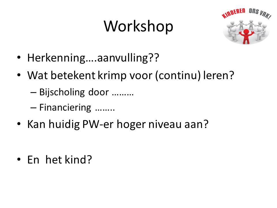 Workshop • Herkenning….aanvulling?.• Wat betekent krimp voor (continu) leren.