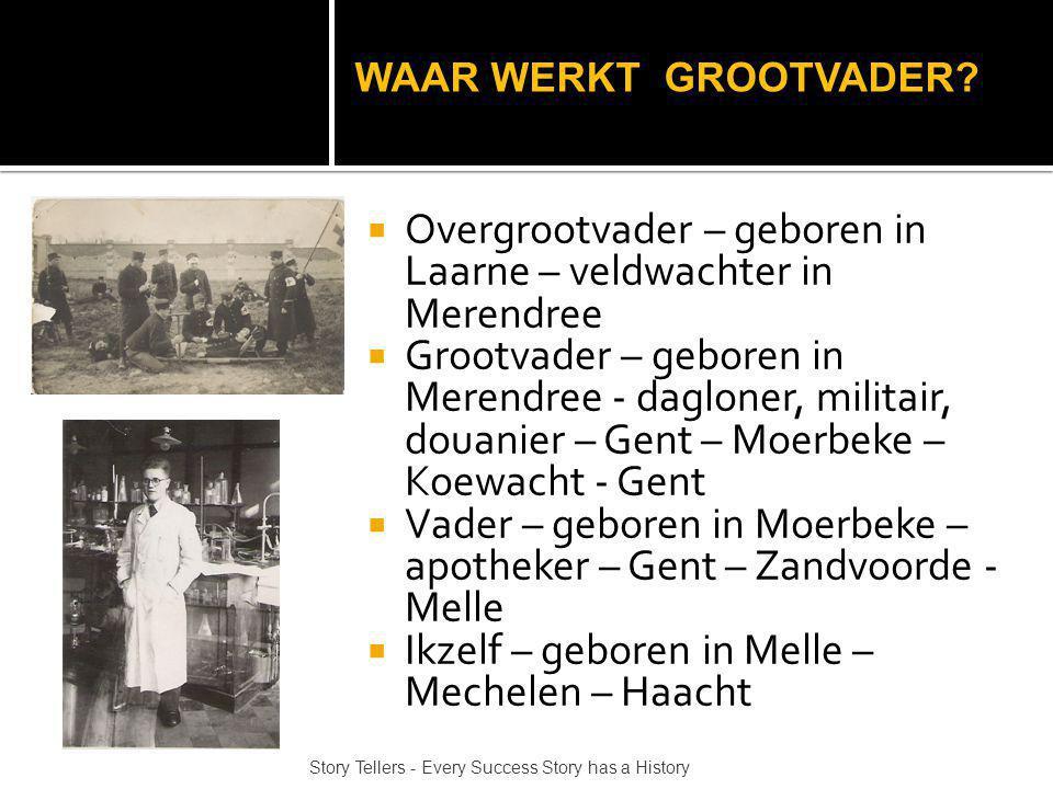  Overgrootvader – geboren in Laarne – veldwachter in Merendree  Grootvader – geboren in Merendree - dagloner, militair, douanier – Gent – Moerbeke – Koewacht - Gent  Vader – geboren in Moerbeke – apotheker – Gent – Zandvoorde - Melle  Ikzelf – geboren in Melle – Mechelen – Haacht Story Tellers - Every Success Story has a History WAAR WERKT GROOTVADER?