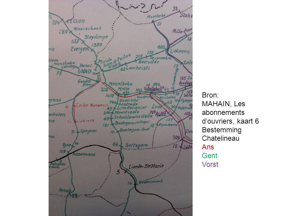 Story Tellers - Every Success Story has a History Bron: MAHAIN, Les abonnements d'ouvriers, kaart 6 Bestemming Chatelineau Ans Gent Vorst