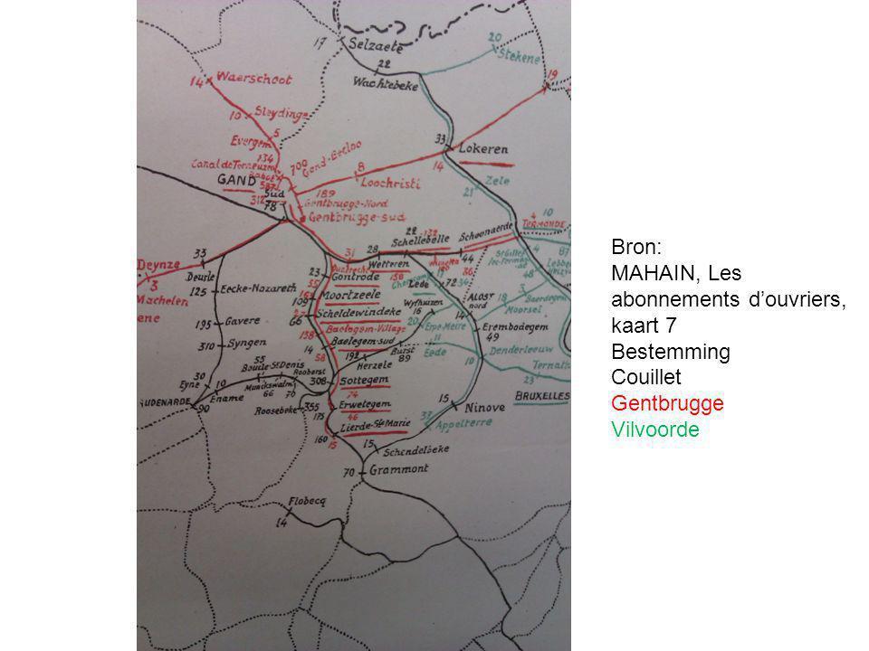 Story Tellers - Every Success Story has a History Bron: MAHAIN, Les abonnements d'ouvriers, kaart 7 Bestemming Couillet Gentbrugge Vilvoorde