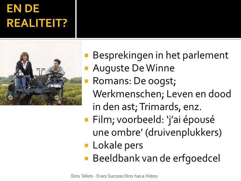 EN DE REALITEIT? Story Tellers - Every Success Story has a History  Besprekingen in het parlement  Auguste De Winne  Romans: De oogst; Werkmenschen