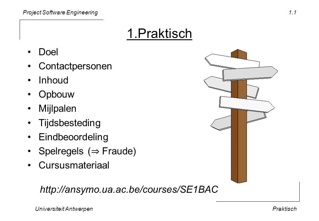 Project Software Engineering Universiteit AntwerpenPraktisch 1.1 1.Praktisch •Doel •Contactpersonen •Inhoud •Opbouw •Mijlpalen •Tijdsbesteding •Eindbe