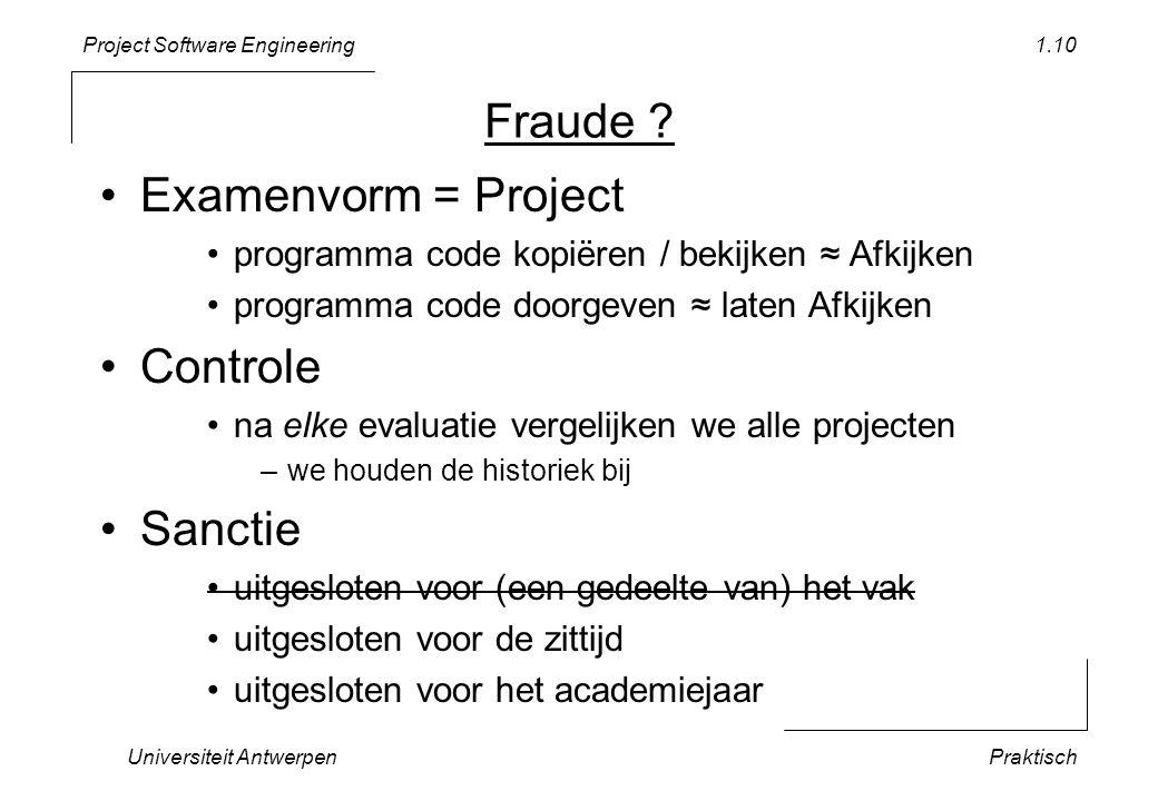 Project Software Engineering Fraude ? •Examenvorm = Project •programma code kopiëren / bekijken ≈ Afkijken •programma code doorgeven ≈ laten Afkijken