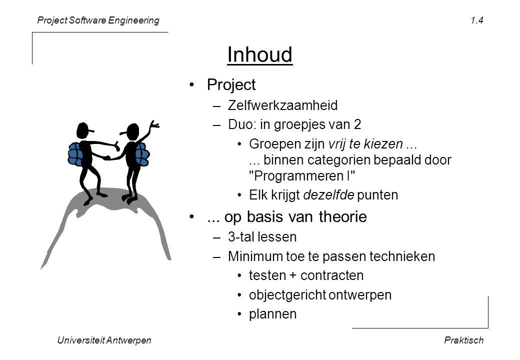 Project Software Engineering Universiteit AntwerpenPraktisch 1.4 Inhoud •Project –Zelfwerkzaamheid –Duo: in groepjes van 2 •Groepen zijn vrij te kieze