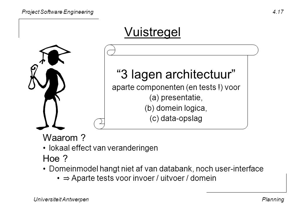 Project Software Engineering Universiteit AntwerpenPlanning 4.17 Vuistregel 3 lagen architectuur aparte componenten (en tests !) voor (a) presentatie, (b) domein logica, (c) data-opslag Waarom .