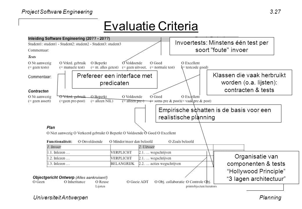 Project Software Engineering Universiteit AntwerpenPlanning 3.27 Empirische schatten is de basis voor een realistische planning Invoertests: Minstens één test per soort foute invoer Klassen die vaak herbruikt worden (o.a.