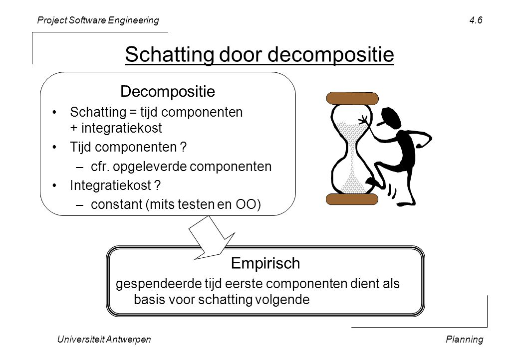 Project Software Engineering Universiteit AntwerpenPlanning 4.6 Schatting door decompositie Decompositie •Schatting = tijd componenten + integratiekost •Tijd componenten .
