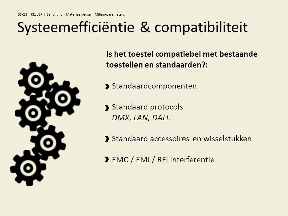 Is het toestel compatiebel met bestaande toestellen en standaarden : Standaardcomponenten.