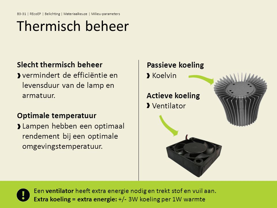 Passieve koeling Koelvin Actieve koeling Ventilator Slecht thermisch beheer vermindert de efficiëntie en levensduur van de lamp en armatuur. Optimale