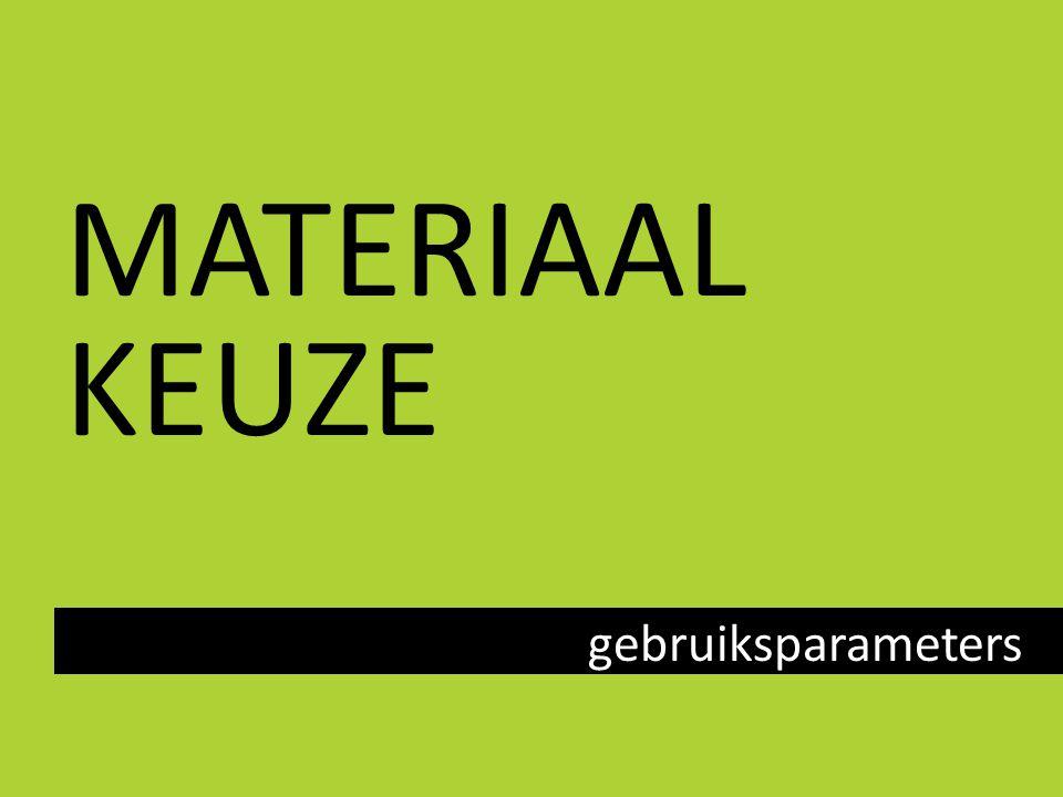MATERIAAL KEUZE gebruiksparameters