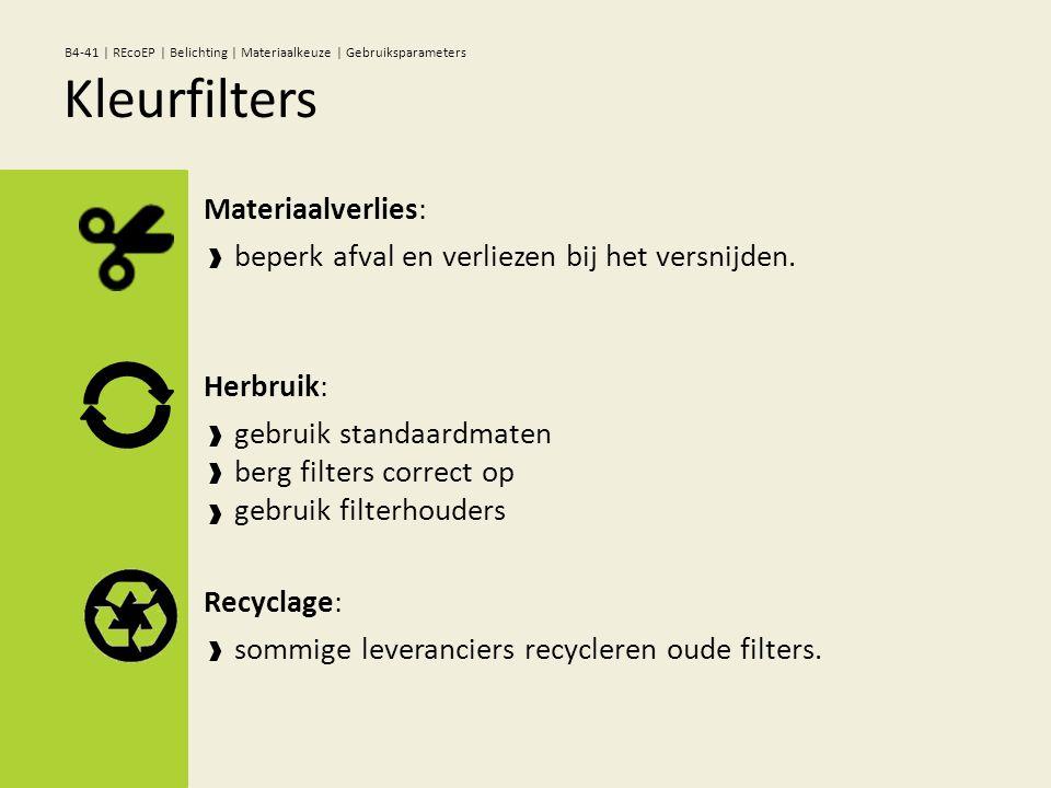 Materiaalverlies: beperk afval en verliezen bij het versnijden. Herbruik: gebruik standaardmaten berg filters correct op gebruik filterhouders Recycla