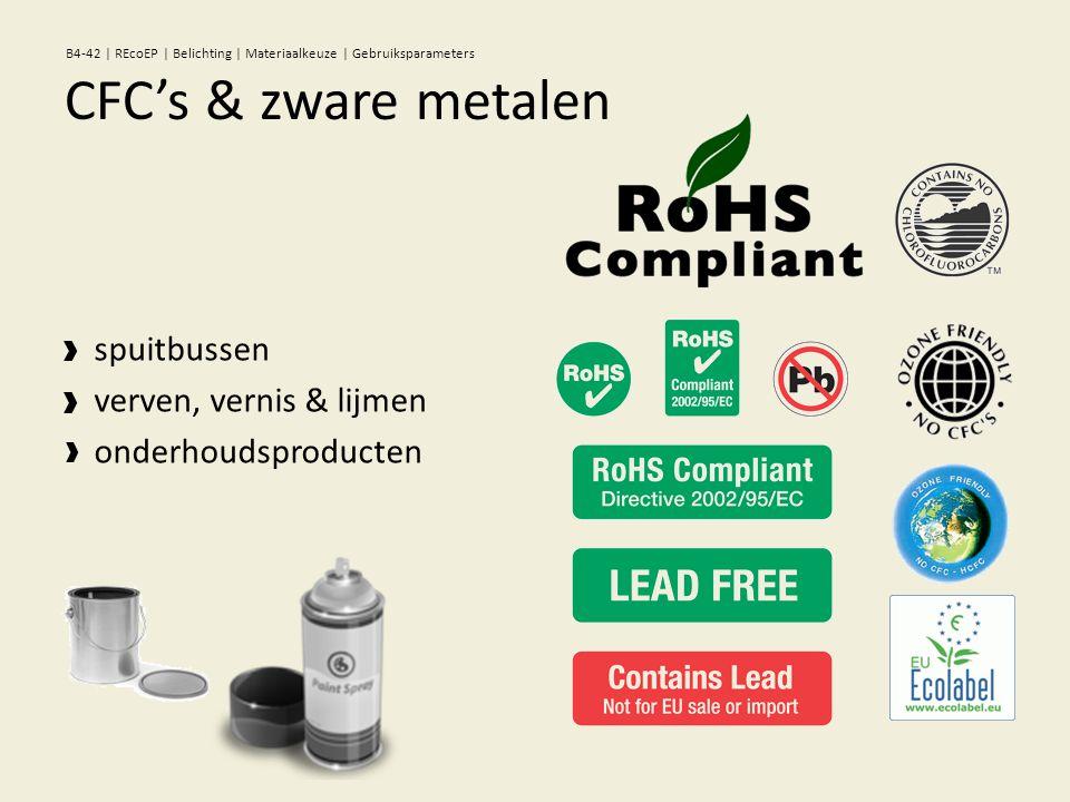 spuitbussen verven, vernis & lijmen onderhoudsproducten CFC's & zware metalen B4-42 | REcoEP | Belichting | Materiaalkeuze | Gebruiksparameters