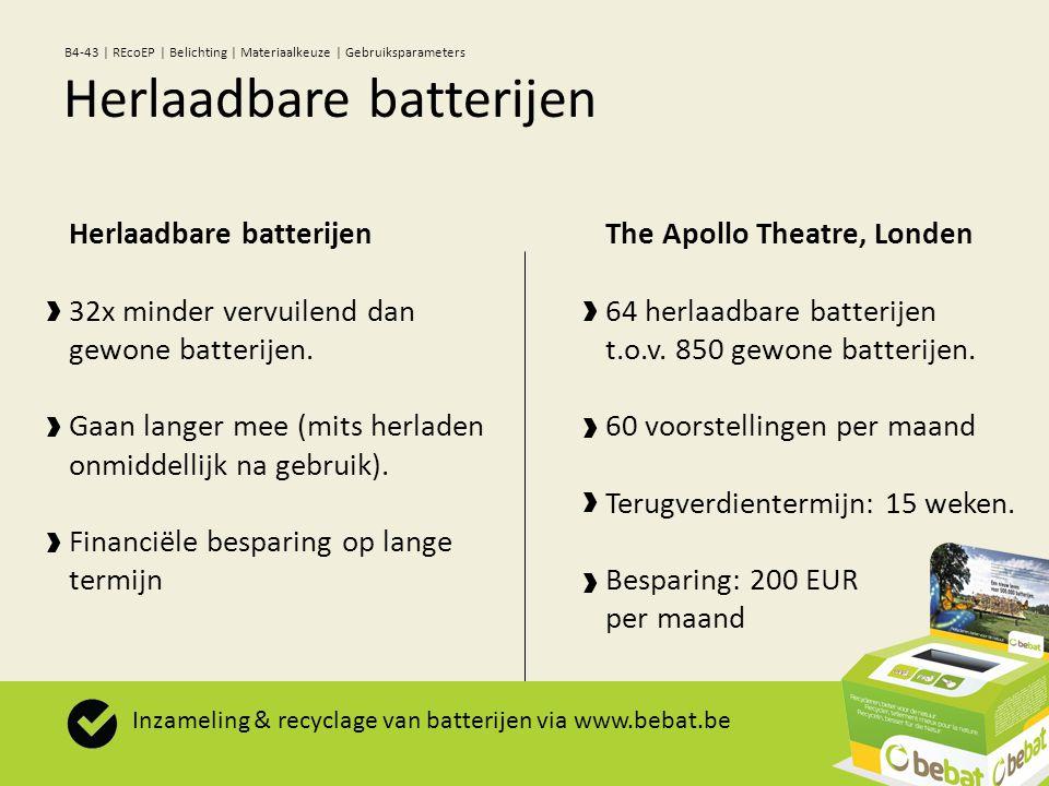 Herlaadbare batterijen 32x minder vervuilend dan gewone batterijen. Gaan langer mee (mits herladen onmiddellijk na gebruik). Financiële besparing op l