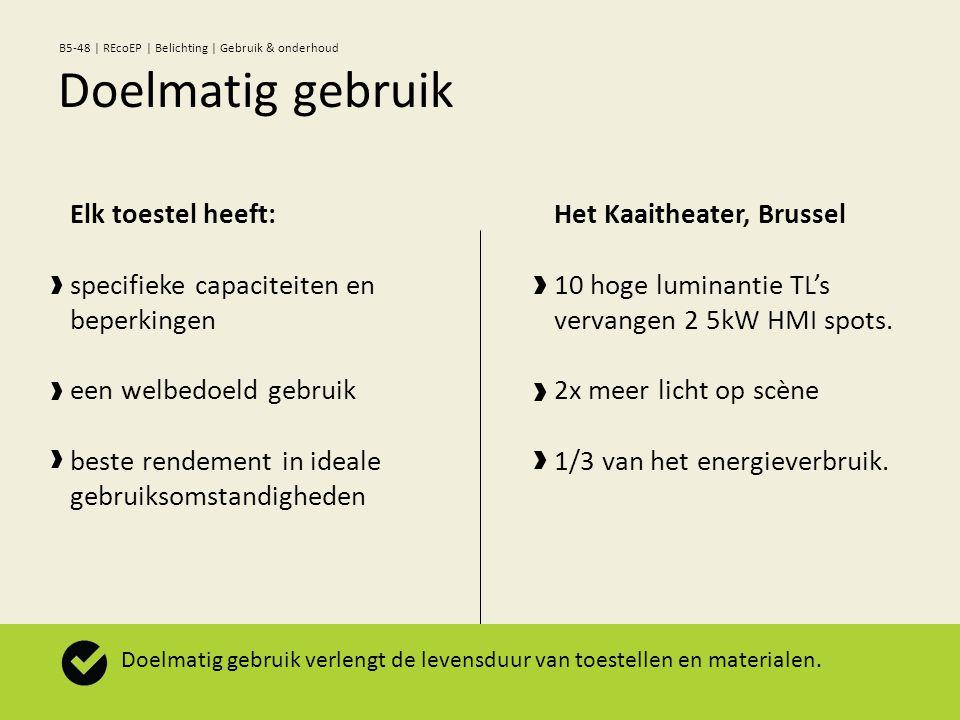Elk toestel heeft: specifieke capaciteiten en beperkingen een welbedoeld gebruik beste rendement in ideale gebruiksomstandigheden Het Kaaitheater, Brussel 10 hoge luminantie TL's vervangen 2 5kW HMI spots.