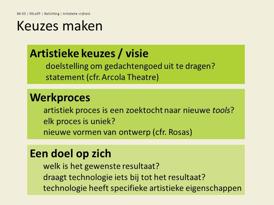 Artistieke keuzes / visie doelstelling om gedachtengoed uit te dragen? statement (cfr. Arcola Theatre) Werkproces artistiek proces is een zoektocht na