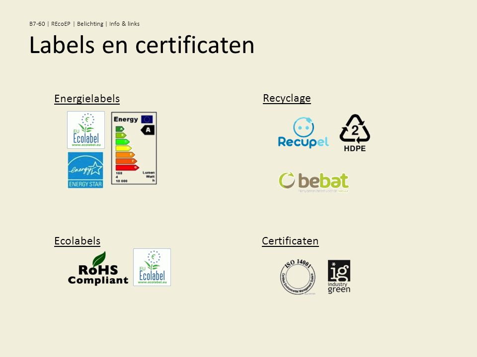 Recyclage Certificaten Energielabels Ecolabels Labels en certificaten B7-60 | REcoEP | Belichting | Info & links