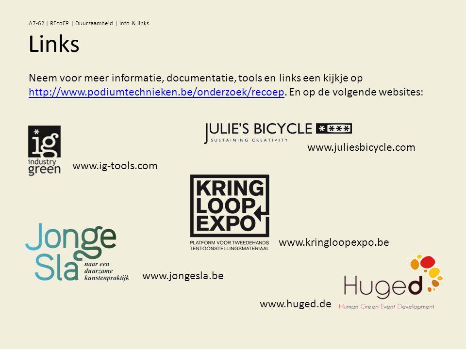Links A7-62 | REcoEP | Duurzaamheid | Info & links Neem voor meer informatie, documentatie, tools en links een kijkje op http://www.podiumtechnieken.b