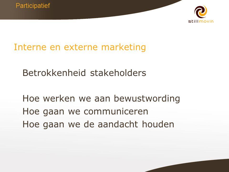 Participatief Interne en externe marketing Betrokkenheid stakeholders Hoe werken we aan bewustwording Hoe gaan we communiceren Hoe gaan we de aandacht houden