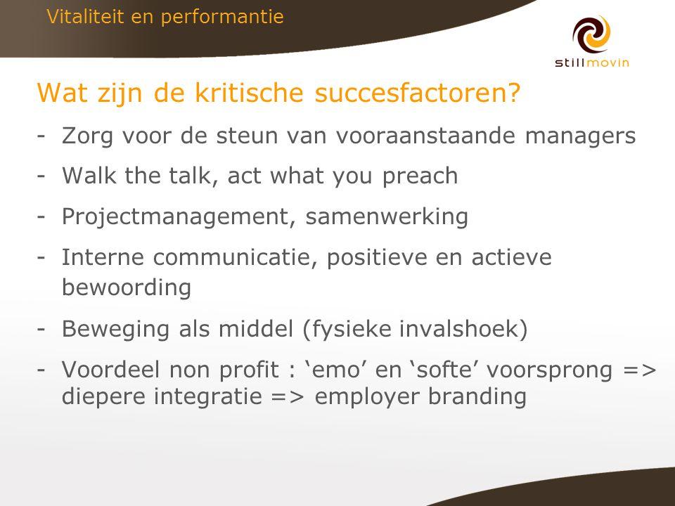 Vitaliteit en performantie Wat zijn de kritische succesfactoren.