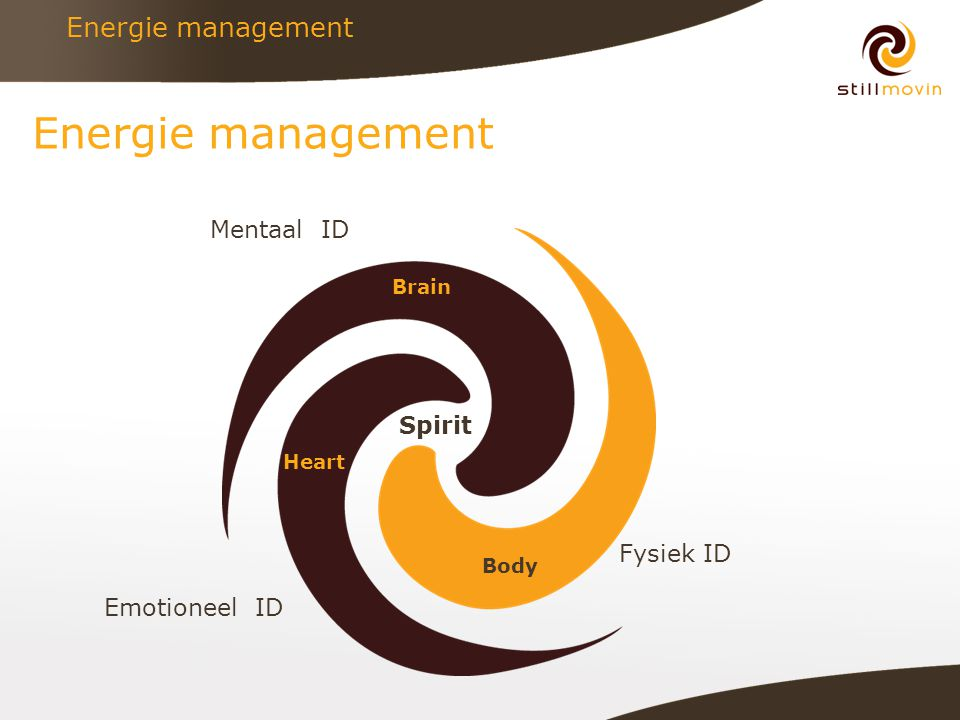 Energie management Brain Heart Body Spirit Mentaal ID Emotioneel ID Fysiek ID
