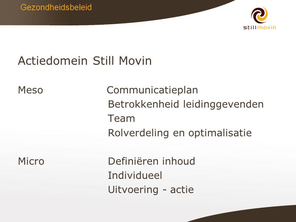 Gezondheidsbeleid Actiedomein Still Movin MesoCommunicatieplan Betrokkenheid leidinggevenden Team Rolverdeling en optimalisatie MicroDefiniëren inhoud Individueel Uitvoering - actie