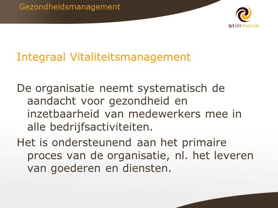 Gezondheidsmanagement Integraal Vitaliteitsmanagement De organisatie neemt systematisch de aandacht voor gezondheid en inzetbaarheid van medewerkers mee in alle bedrijfsactiviteiten.
