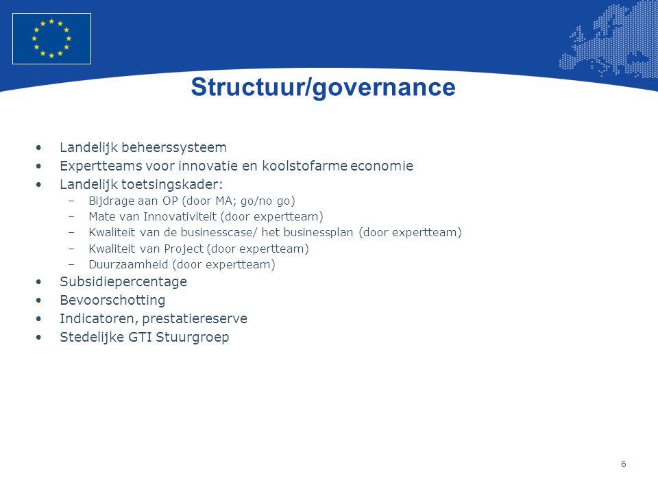 6 Structuur/governance •Landelijk beheerssysteem •Expertteams voor innovatie en koolstofarme economie •Landelijk toetsingskader: –Bijdrage aan OP (door MA; go/no go) –Mate van Innovativiteit (door expertteam) –Kwaliteit van de businesscase/ het businessplan (door expertteam) –Kwaliteit van Project (door expertteam) –Duurzaamheid (door expertteam) •Subsidiepercentage •Bevoorschotting •Indicatoren, prestatiereserve •Stedelijke GTI Stuurgroep