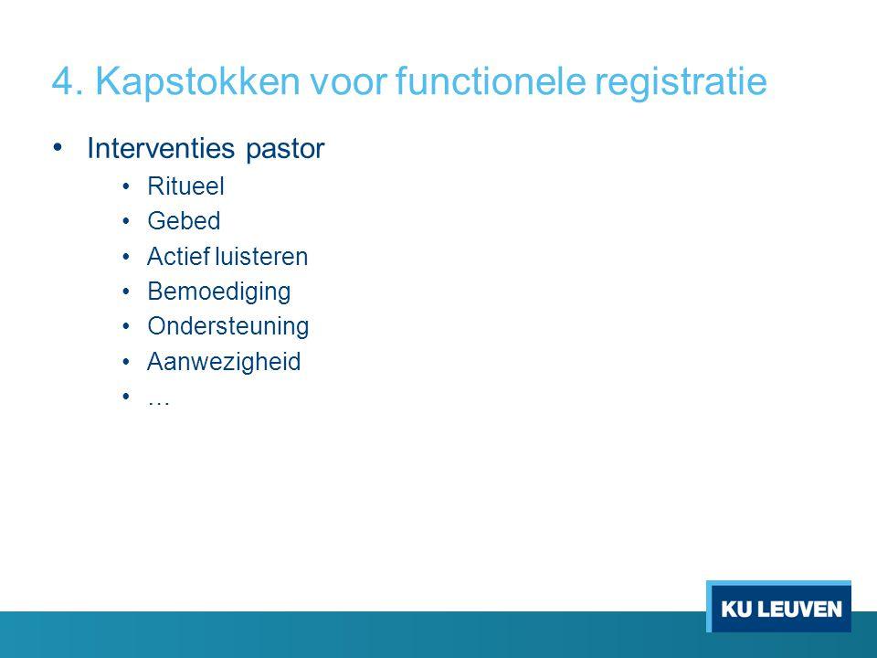 4. Kapstokken voor functionele registratie • Interventies pastor •Ritueel •Gebed •Actief luisteren •Bemoediging •Ondersteuning •Aanwezigheid •…