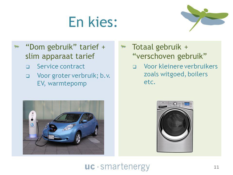Dom gebruik tarief + slim apparaat tarief  Service contract  Voor groter verbruik; b.v.