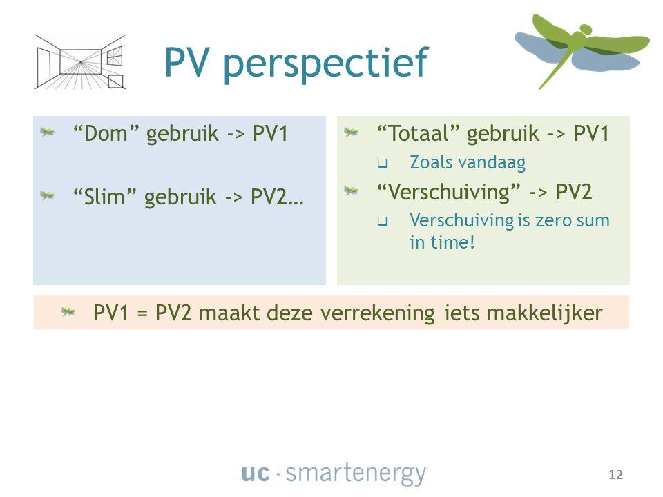 PV perspectief Dom gebruik -> PV1 Slim gebruik -> PV2… Totaal gebruik -> PV1  Zoals vandaag Verschuiving -> PV2  Verschuiving is zero sum in time.