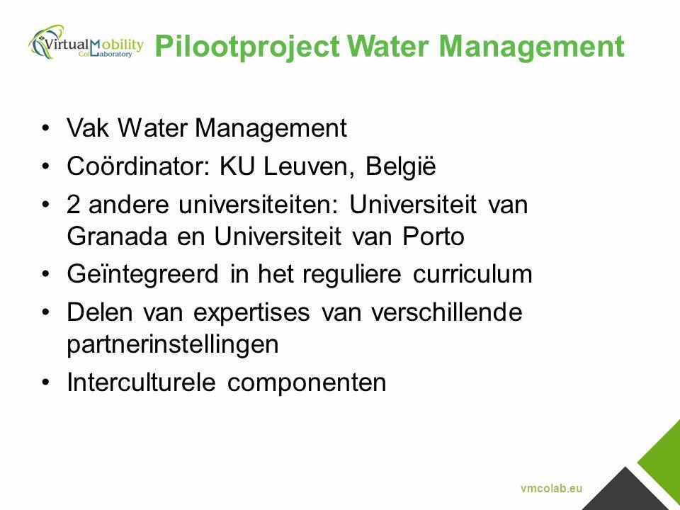 vmcolab.eu Pilootproject Water Management •Vak Water Management •Coördinator: KU Leuven, België •2 andere universiteiten: Universiteit van Granada en