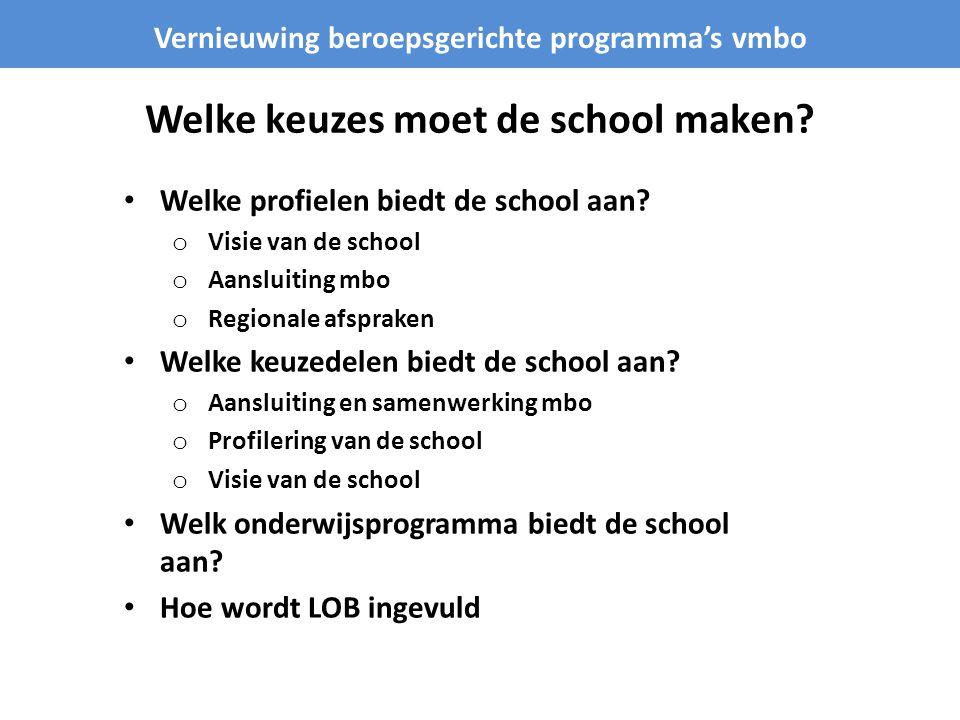 Welke keuzes moet de school maken? Vernieuwing beroepsgerichte programma's vmbo • Welke profielen biedt de school aan? o Visie van de school o Aanslui